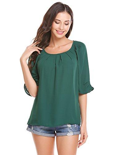 Trudge Damen Chiffon Bluse Elegant T-Shirt Sommer Blusen Loose Fit Tops Tunika Oberteil,Dunkelgrün,S