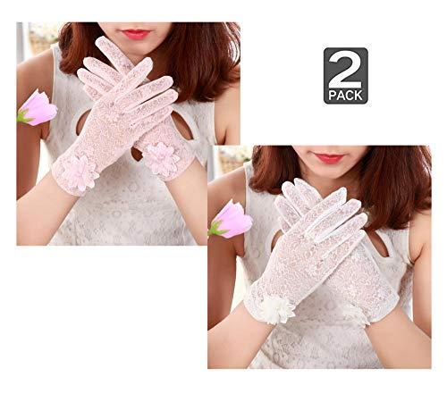YWXJY 2 Paar Frauen Schutzhandschuhe von Sun UV Virus Spitze Fahren Fahrradhandschuhe Anti-Rutsch-Touchscreen, Outdoor Dünne Eisseide Motorradhandschuhe Sunblock Brautkleid Handschuhe-Pink + Weiß