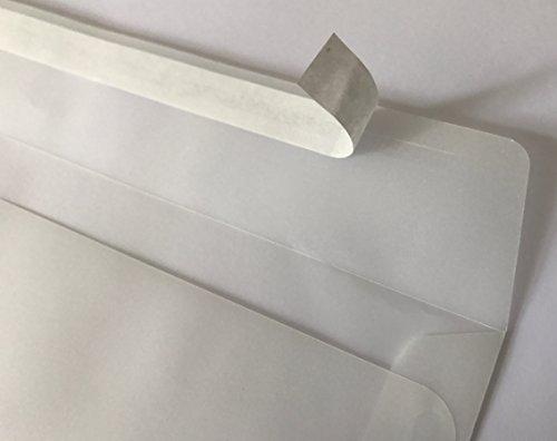 100 transparente Umschläge, 229 x 162 mm = C5, mit Abziehstreifen, verpackt in einer anerkannten Werkstatt für Behinderte