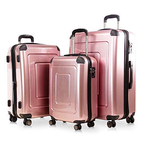 Happy Trolley - 3er Koffer-Set Trolley-Set Rollkoffer Hartschalen-Koffer Reisekoffer Lugano sehr leicht, TSA, (S, M & XL), Rose Gold