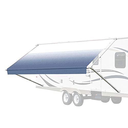 ALEKO Manual Retractable RV Trailer Awning for Home or Camper- 10x8 Ft - Blue Fade