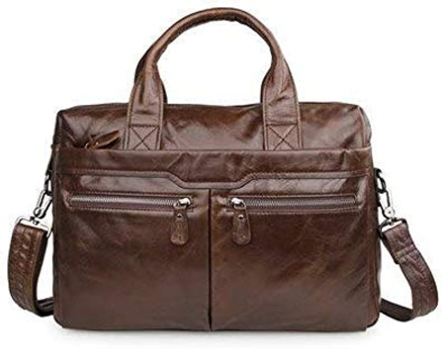 Bloomerang ALAVCHNV Design New Men's Suede Leather Portable Business one Shoulder Large Capacity Crossbody Bag 7122 color Chocolate Size