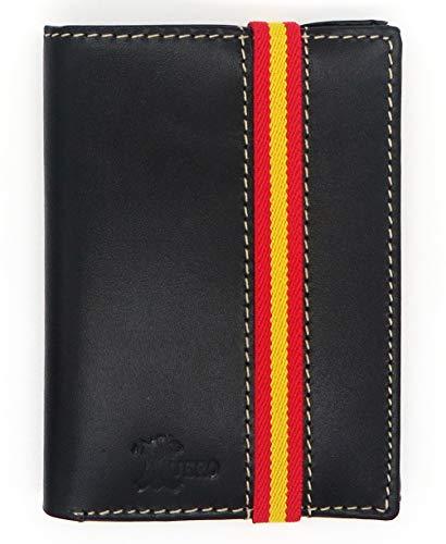 Cartera de Piel Negra con Bandera de España | Fabricado con Cuero auténtico | Billetera de Caballero, Tarjetero Monedero para Hombre | Producto Made in Spain (Vertical Banda Clasica)