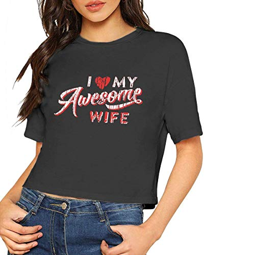 Womens Fashion Short Sleeve T Shirt I Love My Awesome Wife Crop Tops