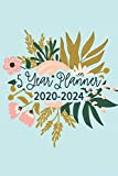 5 Year Planner 2020-2024: Pocket Planner & Monthly Planner for 5 Year Plan | 60 Month Calendar With National Holidays | Mint Floral Planner For Women