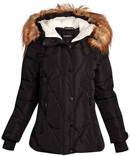 bebe Women's Midweight Bubble Ski Jacket with Sherpa Lined Hood, Size Medium, Pure Black
