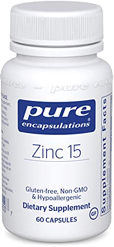 Pure Encapsulations Zinc 15 mg | Zinc Picolinate Supplement for Immune System Support, Growth and Development, Wound Healing, Prostate, and Reproductive Health* | 60 Capsules