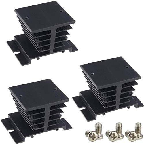 TIHOOD 3PCS Aluminum Heat Sink SSR Dissipation for Single Phase Solid State Relay 10A-40A Black