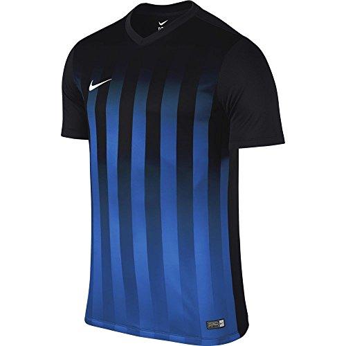 NIKE SS Striped Division II JSY Camiseta del Fútbol, Nero_BLU_Bianco, S para Hombre