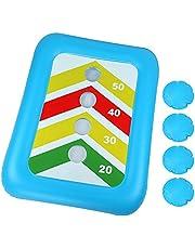 "BEBEKULA 36"" Floating Toss Game Inflatable Pool Ring Toss Game Floating Swimming Pool Ring Toy with 4pcs Water Bags Floating Board Set for Multiplayer Water Pool Game Kid Adult"