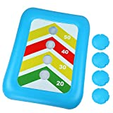 "BEBEKULA 36"" Floating Toss Game Inflatable Pool Ring Toss Game Floating Swimming Pool Ring Toy with 4pcs Water Bags Floating Cornhole Board Set for Multiplayer Water Pool Game Kid Adult"