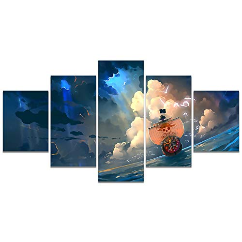 Anime One Piece Poster Thousand Sunny Print on Canvas The Straw Hat Pirates Wall Picture for Living Room Decor Wall Art (Unframed, Thousand Sunny)
