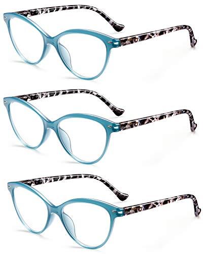 ROSA&ROSE 3 Pack Gafas Ordenador Anti luz Azul Ojo de Gato Gaming PC Azul luz Filtro Proteccion Gafas Evita la Fatiga Ocular para Mujer Hombre - Bisagras Resorte/Lentes Transparentes