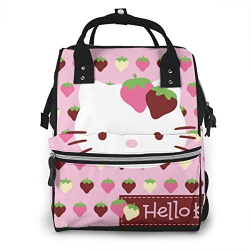Diaper Bag Backpack - Cute Hello Kitty Strawberry Multifunction Waterproof Travel Backpack Maternity Nappy Changing Bags