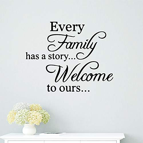 Every Family Has A Story Welcome to Ours Wall Stickers Motivational Saying Wall Decal,Inspirational Quotes Stickers Set for Home Decorations