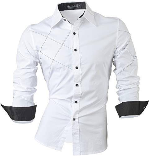 Jeansian Homme Chemises Casual Shirt Tops Mode Men Slim Fit 2028 White M