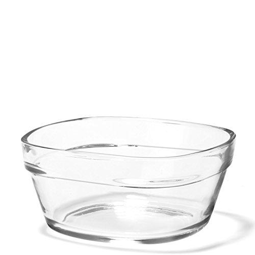 LEONARDO HOME Glasschale Mio, Ø 25 cm, 2,7 Liter, Servier-Schale Dessert, Suppe, Salat, eckig, stapelbar, spülmaschinenfest, 019089