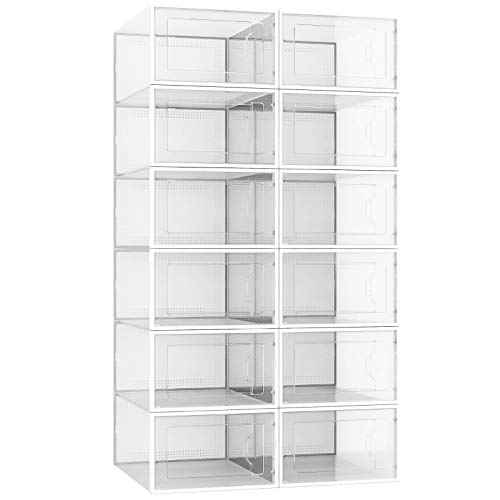 12 Pack Shoe Storage Boxes Shoe Boxes Clear Plastic Stackable Shoe Organizer for ClosetShoe Containers Bins with Lid Front Opening Shoe Holder Clear