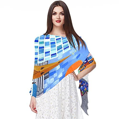 WJJSXKA Soft Chiffon Scarves Chales Wraps for Dresses Mujer Accesorios, sol de la plaza de toros