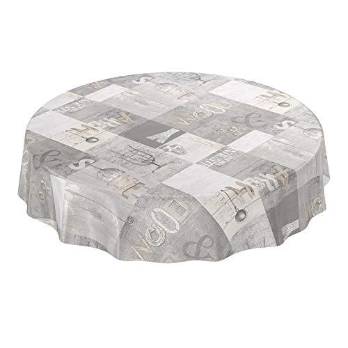 ANRO wasdoek tafelkleed wasdoek wastafelkleed tafelkleed afwasbaar industriële stijl moderne used look rond 140cm, meerkleurig