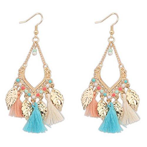 Mujers Pendientes, Xinan Pendientes Las Hojas Largas Bohemia Aretes Earrings (Multicolor)