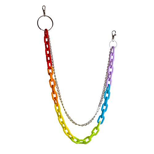 WANZIJING 1 Stück Regenbogen Waist Hose Kette, Punk Acryl Legierung Hosen Kette Fashion Statement Schlüsselanhänger für Frauen Männer