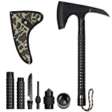 LIANTRAL Camping Stainless Axe with Sheath 18 inch Multitool Tactical Hatchet Sickle for Camping Hiking Hunting Backpacking Emergency Outdoor Adventures Survival Hatchet Portable Folding Axe