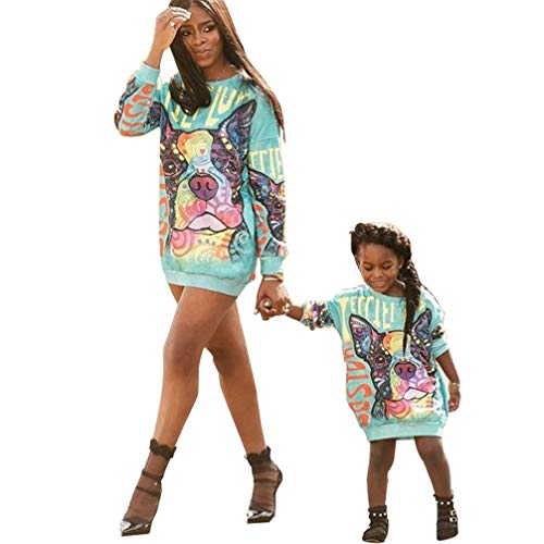 JEELINBORE Familia Vestidos, Casual Sudadera Pullover Largo Estampado Vestido Camiseta de Manga Larga para Madre e Hija