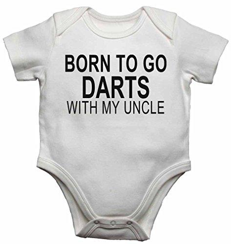 Born to go Dartpfeile mit My Uncle–NEUE Personalisierte Baby Westen Bodys Baby wächst für Jungen, Mädchen–weiß–12–18Monate