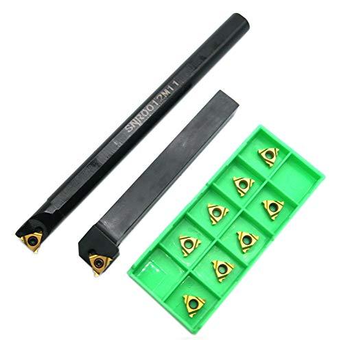 Lathe Boring Bar SNR0012M11+SER1212H11 Turning Tool Holder Lathe Internal Threading Inserts with Turning Inserts 5pcs 11ER AG60+5pcs 11IR AG60 Carbide
