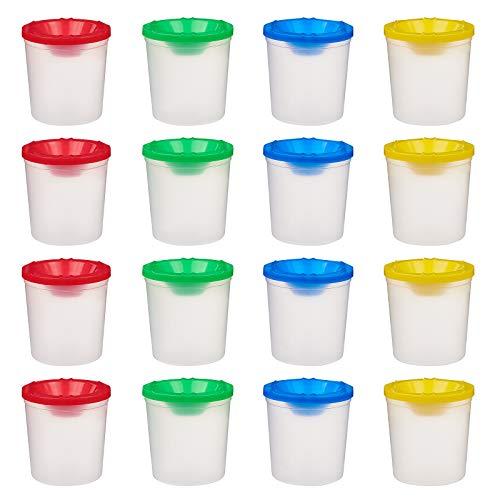 NBEADS - Set di 20 bicchieri in plastica per pittura, senza fuoriuscite di liquidi, con coperchio, per la scuola e la scuola