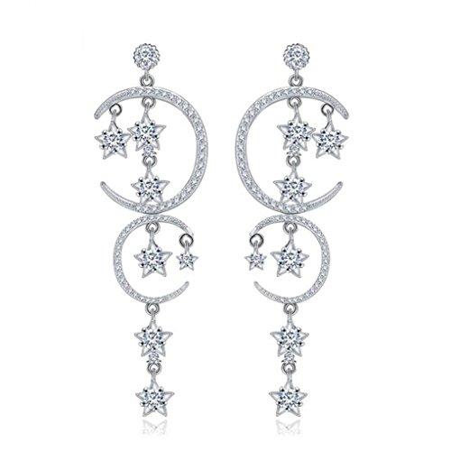 Hanie Damen Ohrringe 925 Sterling Silber Stern und Mond Lang Ohrhänger Chandelier mit Weiß Zirkonia Elemente Kristall Geburtstagsgeschenk für Frau Mädchen
