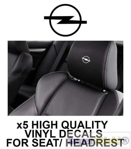 SUPERSTICKI 5X Opel Schriftzug Logo Kopfstützen Aufkleber für Kopfstütze Sitze Handschufach Lack Tuningsticker Decal Decals geplottet Hochleistungsfolie oder Scheibe Headrest 12cm