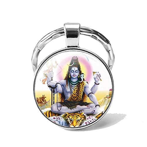 Afortunado Elefante Indio Cabeza Dios Ganesh Llavero joyería cúpula de Cristal cabujón Colgante Llavero Anillo Amuleto Amuleto Familiar Regalo