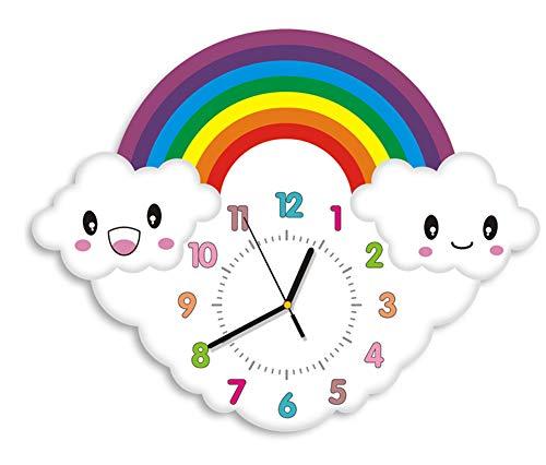 CYHOME 3D Motive Wolken Regenbogen Kinderwanduhr Kinder Wanduhr mit lautlosem Uhr für Kinderzimmer Jungen (Stil 2)