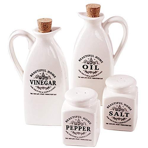 ZYL-IL 4 Piezas de cerámica Tarro condimento con el Corcho de Madera de Cocina condimentos Botella Tarro aromatizantes Embalaje Caja de Regalo vinagre Sal Pimienta Aceite Shaker