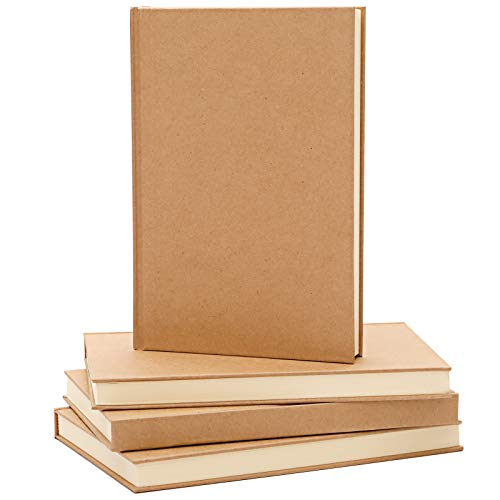 LABUK 4pcs Blank Notebooks, 5.6 x 8.27' Blank Page Notebook, Hardcover Sketchbook Journal Unlined, 100gsm Thick Paper, 120 Sheets/240 Pages Per Book