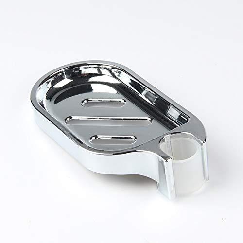 RHoet Conveniente Clip-on jabón de jabón jabonera Plato de Ducha Ajustable Placas de jabón de riel de Ducha Suave Soporte de Cuarto de baño Plateado Jabonera