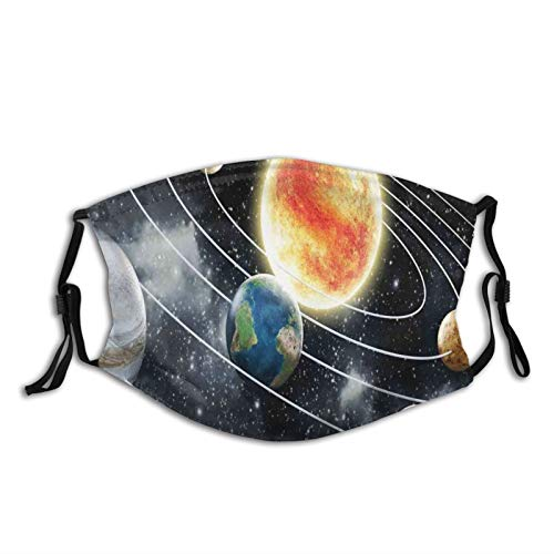 FULIYA Mascarillas faciales lavables reutilizables para mujeres y hombres, sistema solar con ocho planetas universo elementos Sun Earth Mars y Urano, 12 x 19 cm, tamaño mediano, unisex adulto
