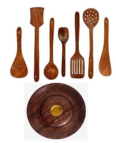 VG Craft Wooden Handmade Kitchen Cooking Spatule Non Stick Serving Set of 7, 32CM|2 Frying|1 Serving|1 Spatula|1 Chapati Spoon|1 Desert|1 Rice