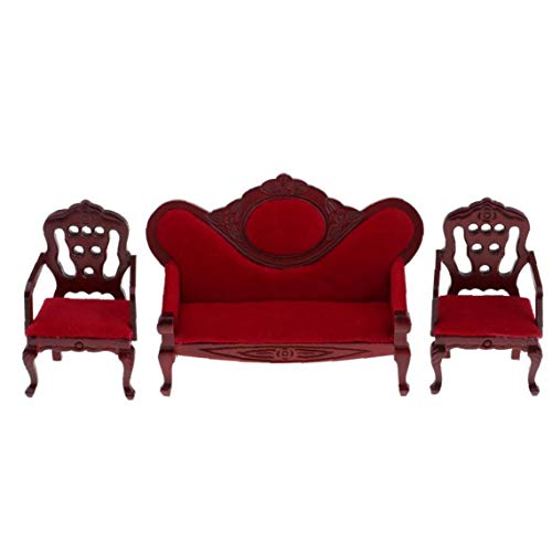 Miniatura de Madera casa de muñecas Sofá Escala del 1:12 Muebles Sofá Juego de sillas Salón Delicado Asiento para niños de Juguete