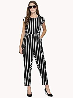 Glampunch Women's Black & White Stripes Crepe Jumpsuit