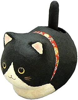 Washi Paper Hand Made Jananese Black Cat Solar Powered Maneki Neko Statue
