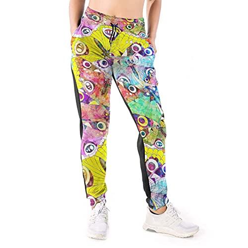 Pantalones de chándal vintage colorido mariposa extendiendo sus alas para mujer casual salón pantalones con bolsillos con cordón Jogger sudor pantalones de cintura alta pantalones blanco
