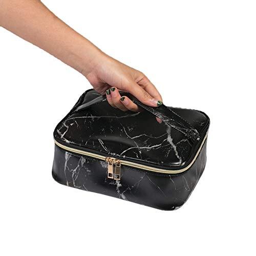 LHLON Marble Petrochemical Makeup Bag Trousse de Toilette SPACIEUSE (L25xl14xH15 cm) Trousse Toilette Voyage Fonctionnelle, Solide, Simple, Efficace (Couleur : Noir)