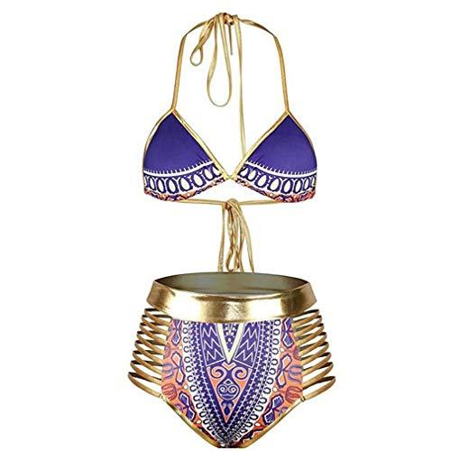 Vrouwen Tribal Print Bikini African Metallic Swimsuit Two Piece Beachwear Knipsel Haltertruitje badpak Swimwear,D,XL