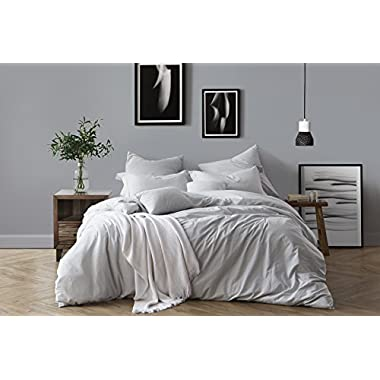 Swift Home 100% Cotton Washed Yarn Dyed Chambray Duvet Cover & Sham Bedding Set, Ultra-Soft Luxury & Natural Wrinkled Look – Full/Queen, Pale Blue