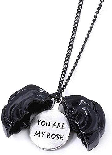 Halskette Punk Vintage Vintage Black Rose Halskette Rose Sunshine Doppelseitiger Laserdruck Brief Blume Halsreif Frauen Modeschmuck Geschenk Mädchen Jungen Halsketten