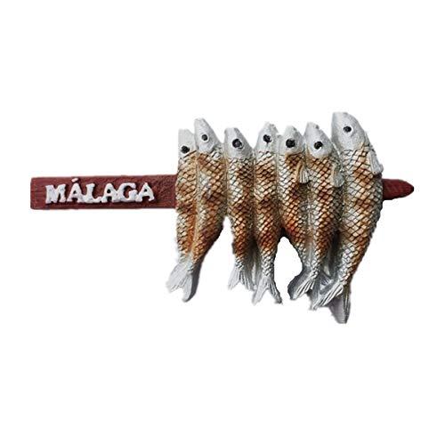 Imán de nevera 3D con sabor local para decoración del hogar y la cocina, pegatina magnética, colección de imanes de nevera Málaga España