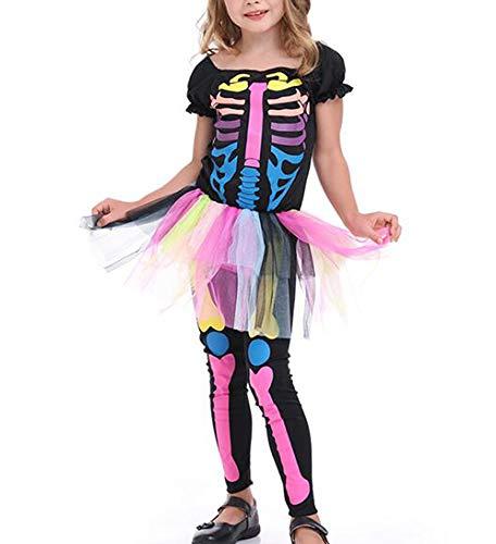 Mono de Calavera de Color Lindo para nios de Halloween Disfraz de Falda de nia Punk de Fantasma de Esqueleto Aterrador